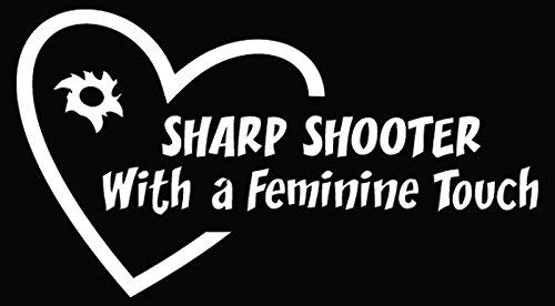 (Sharp Shooter Girl Bullet Gun Love Heart Car Truck Window Bumper Vinyl Graphic Decal Sticker- (15 inch) / (38 cm) Wide MATTE BLACK)