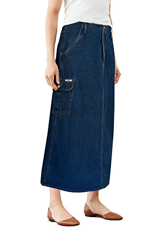 - Womens Super Comfy Long Denim Maxi Skirt SK152280 Dark Wash 3