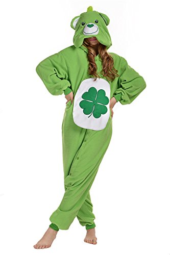 NEWCOSPLAY Polar Fleece Unisex Gloomy Bear Pajamas (XL, Green Bear) (/care Halloween Costumes Bear Adult)