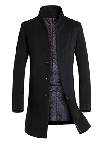 Lavnis Men's Trench Coat Long Wool Blend Slim Fit Jacket Overcoat Size Thicken Style Style 1 Black XL