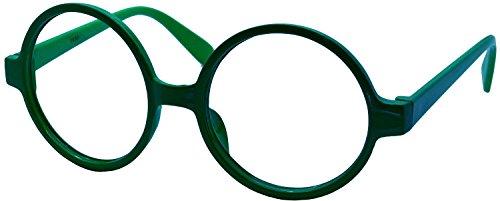 FancyG Retro Geek Nerd Style Round Shape Glass Frame NO LENSES - Dark - Glasses Dg Prescription