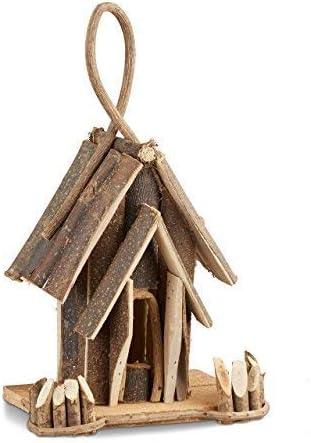 Relaxdays Casa de Pájaros Decorativa Colgante, Madera, Marrón, 14x22x35 cm