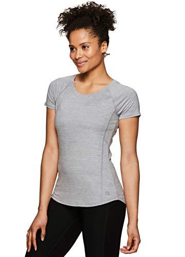 RBX Active Women's Heathered Workout Yoga Short Sleeve T-Shirt S.19 Grey XL