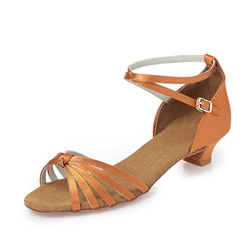 Chaussures de en Sandales Latine MOU Modern'Jazz de cheville Chaussures Samba Danse Danse 35 Fond BYLE Danse fait d'enfants Sangle de Chaussures Satin adultes Cuir Noueurs Latine de YtqwUI