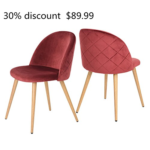 """"""" 30% discount """" GreenForest Dining & Leisure Chair. Wood Legs Velvet Cushion Seat and Back for Dining and Living Room Chairs, Set of 2 Bordeaux"""