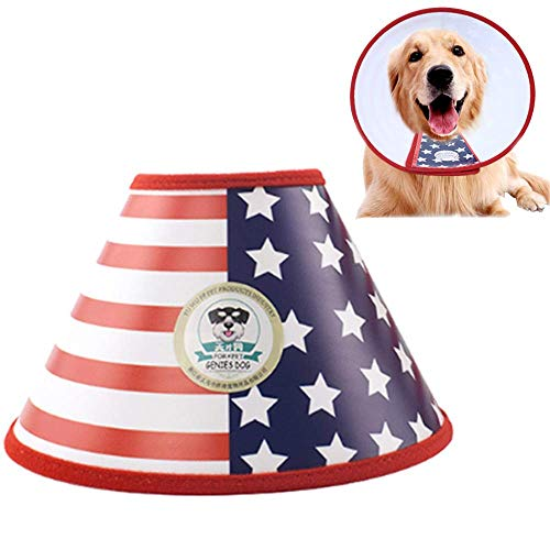 Four Flags Block - ANIAC Pet Adjustable Comfy Cone Recovery Protective E-Collar from Surgery,Wound Healing for Cats and Dogs (American Flag, 4)