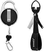 SAMSFX Quick Knot Tool Fishing Line Clipper with Measure Tape Zinger Retractor Retractable Reel Carabiner Clip