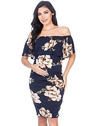 Women's Ruffle Off-Shoulder Maternity Dress W/Side...