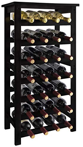 URFORESTIC 28-Bottle Wine Rack Made of Natural Bamboo Wood with Table Top 7-Tier Free Standing Storage Shelves Wobble-Free for Kitchen Bar Dining or Living Room (Dark Brown)