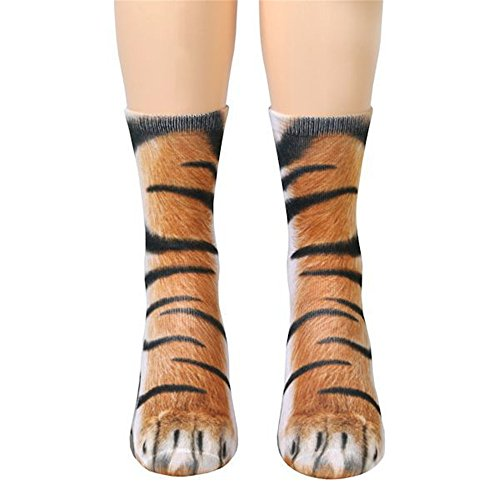 Spirit Tiger - Unisex Funky Socks Hosamtel Animal Paw 3D Printing Sublimated All Over Crew Socks for Man Women Girl Boy (Tiger)