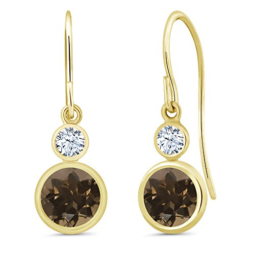 (Gem Stone King 1.82 Ct Round Brown Smoky Quartz 14K Yellow Gold Earrings)