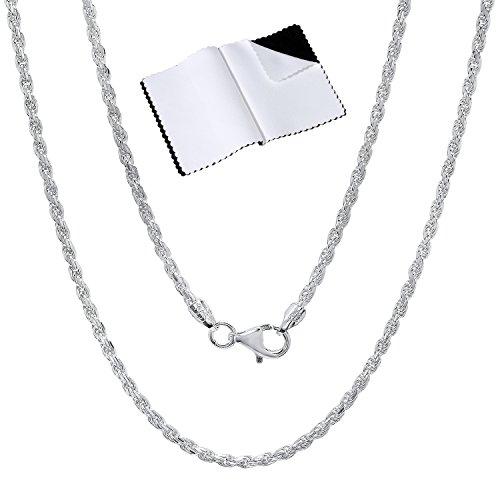 2.2mm 925 Sterling Silver Nickel-Free Diamond-Cut Rope Link Italian Chain, 22