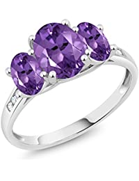 10K White Gold Diamond Accent Oval Purple Amethyst 3-Stone Ring 1.70 Ct (Available 5,6,7,8,9)