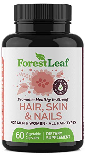 Hair Skin and Nails Supplement for Men and Women - All Natural Biotin, Keratin, Bamboo Regrowth Formula for All Hair Types - 60 Vegetarian Capsules - by Forestleaf