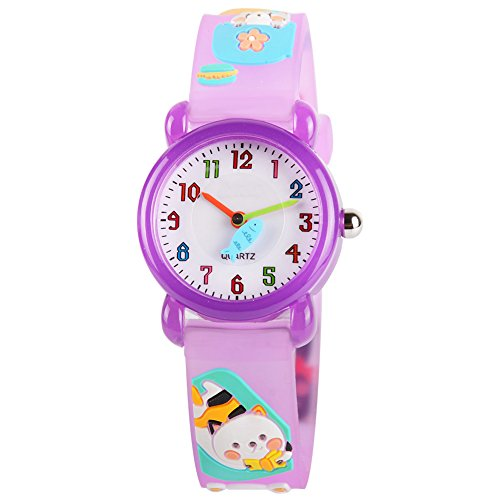 Pink Cat Watch - Venhoo Kids Watches Cartoon Waterproof Silicone Children Wristwatches Time Teacher Gifts for Girls (Purple Cat)