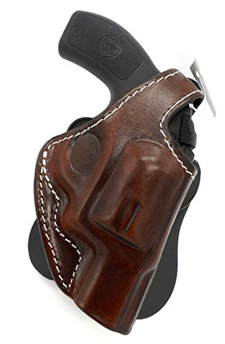 HOLSTERMART USA TAGUA Premium Deluxe Right Hand Rotating Paddle and Belt Holster with Reinforced Thumb Break in Dark Brown Leather for Smith & Wesson S&W J-Frame Revolver, 1-7/8