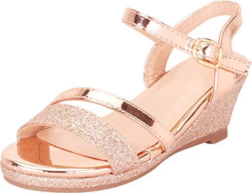Gold Gem Wedge - Cambridge Select Girls' Open Toe Strappy Glitter Low Wedge Sandal (Toddler/Little Kid/Big Kid),9 M US Toddler,Rose Gold Glitter