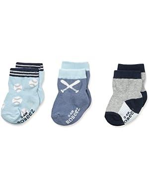 Big Boys' Batter Up Socks-3 Pack
