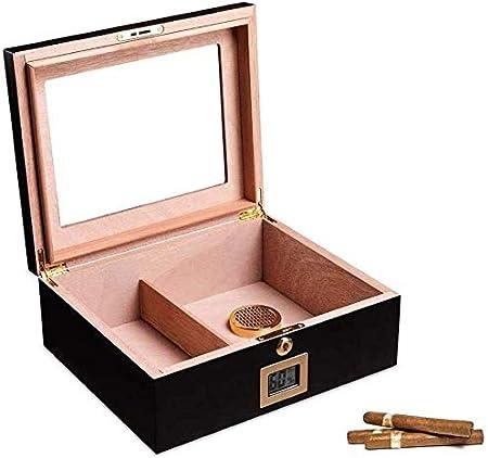 AMITD Cigar Box - Humidificador de Puros con Caja de Cedro español, con higrómetro Digital y Tubos humidificadores, para Hombres: Amazon.es: Hogar