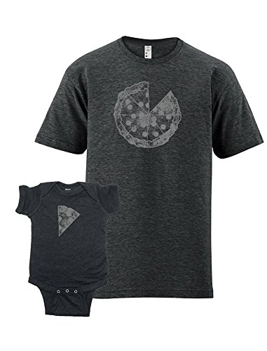 Sunshine Mountain Tees Pizza Dad and Baby Matching Shirts Fathers Day T-Shirt Set XXL&0-6 Heather Black