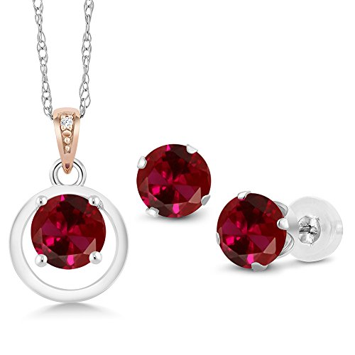 Gem Stone King 925 Silver & 10K Rose Gold Red Created Ruby Diamond Accent Pendant Earrings Set