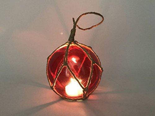 LED Lighted Red Japanese Glass Ball Fishing Float with Brown Netting - Glasses Float Kids
