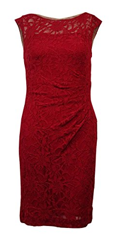 Ralph Lauren Lauren Women's Sleeveless Lace Ruched Sheath Dress (2P, Rivet Red) by RALPH LAUREN