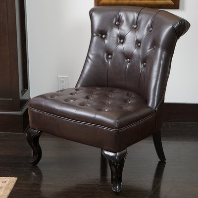 Best Selling Marco Tufted Bonded Leather Accent Chair, Brown Review