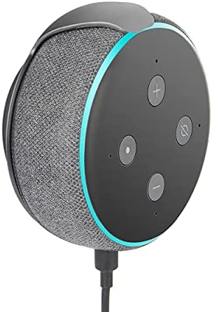 Wall Mount Holder for Echo Dot 3rd Generation Wall Mount 3rd Generation, Space-Saving Accessories Built-in Cable Management for Dot(3rd Gen) Smart Speakers, with Sticking Tape and Drill Nail-Grey