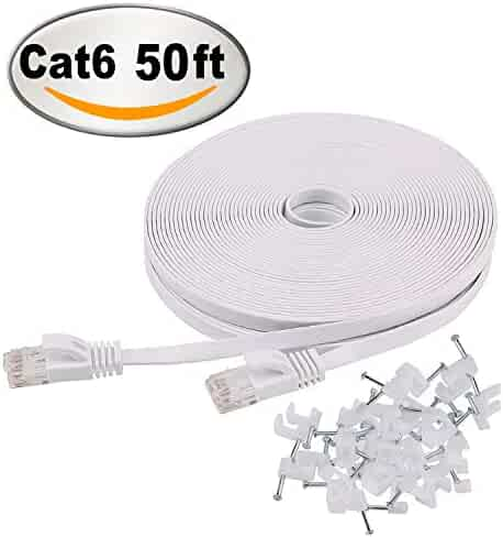 Cat 6 Ethernet Cable 50 ft White – Flat Internet Network Cable– Jadaol Cat 6 Computer Cable With Snagless Rj45 Connectors – 50 feet White (15 Meters)