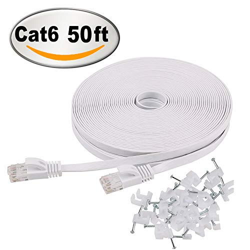 Cat 6 Ethernet Cable 50 ft Whi