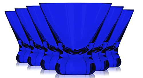 Libbey Cobalt Blue Cosmopolitan/Dessert Glasses 8 oz. set of 6 - Additional Vibrant Colors Available by TableTop - Cosmopolitan Cobalt Glass