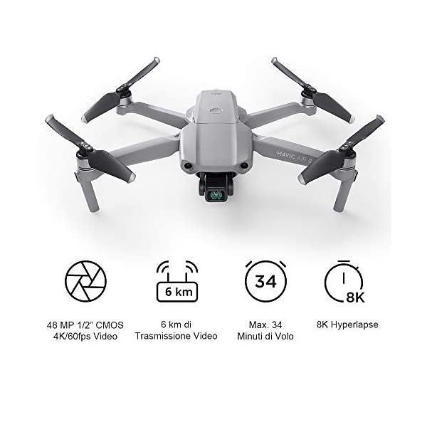 """DJI Mavic Air 2 Drone Quadcopter UAV con Telecamera 48MP 4K, Video 1/2"""", Sensore CMOS, Stabilizzatore 3 Assi, 34 min di Volo ActiveTrack 3.0, Grigio 2 spesavip"""