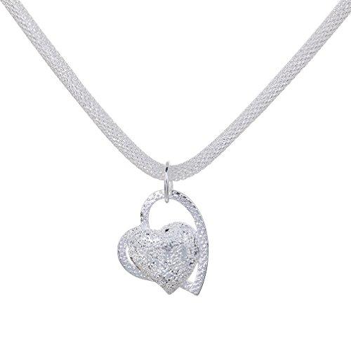 YAZILIND Collier Avec Pendentif Love Heart Argent Vogue Conception Simple De Haute Qualit' Plaqu' Pour Les Femmes