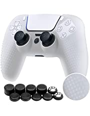Benazcap Silicone Skin Accessories for Sony PS5 DualSense Wireless Controller Grip Covers Case with Anti-Slip Silicone Dustproof Protective, PS5 Controller Skin x 1, with Thumb Grip x 10 - White