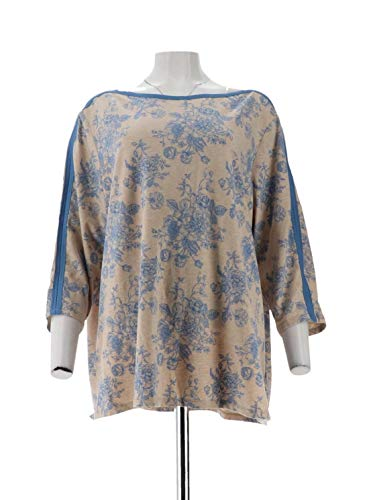 Susan Graver Weekend Printed Cotton Modal Top Steel Blue 2X New A300531