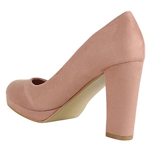 Stiefelparadies Klassische Damen Pumps Lack High Heels Elegante Party Schuhe Strass Blockabsatz Glitzer Damenschuhe Wildleder-Optik Flandell Rosa Arriate