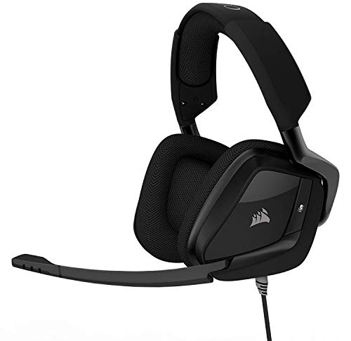 CORSAIR Void PRO Surround Gaming Headset - Dolby 7.1 Surround Sound Headphones for PC - Works with Xbox One, PS4, Nintendo Switch, iOS and Android - Carbon (Dolby Virtual Usb Headset)