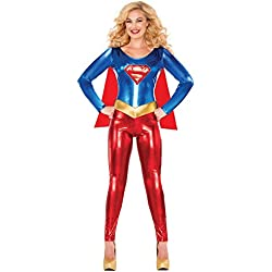 Delicious of NY Women's DC Comics Deluxe Supergirl Catsuit Costume, Multi, Small