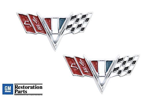 Pirate Mfg 1964-67 Chevrolet Chrome Die Cast Front Fender Trim Emblem Chevy Flags Pair ()