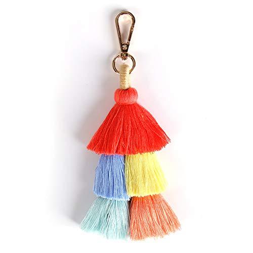 Colorful Boho Pom Pom Tassel Bag Charm Key Chain Winter women's bag pendant Dark pendant
