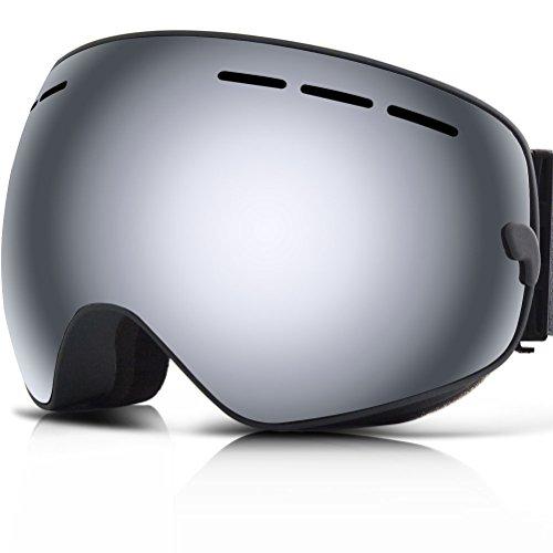YAKAON Y1 Ski Snowboard Snow Goggles with UV Protection Anti-fog Spherical OTG Anti-slip Strap for Men Women
