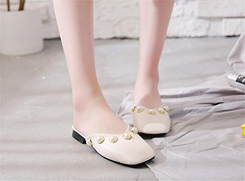 Mules Narrow COLOV Toe Slides Women Single Slippers Dress Two Band White Backless Pointed Flats YAdAWq