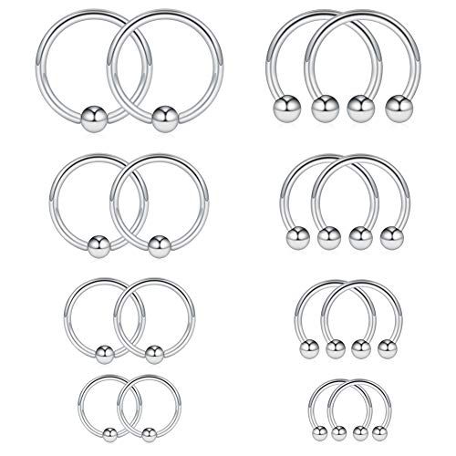 Ruifan 8PRS(16PCS) 16G Surgical Steel Horseshoe & Captive Bead Nose Hoop Septum Earring Eyebrow Tongue Lip Nipple Helix Tragus Piercing Rings 6-12mm - Silver ()