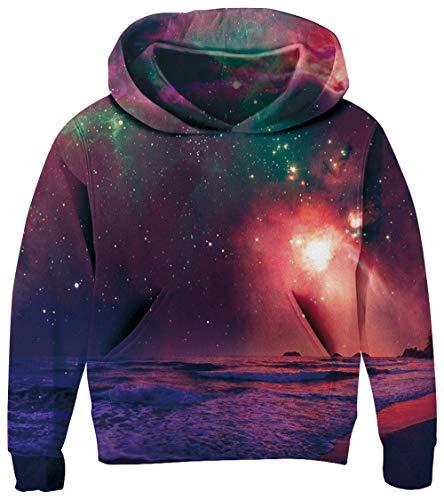 UNICOMIDEA 5-6T Kids Sweatshirt Trend Hoodie Cute Polar Night Print Pullover with Digital Pattern,Galaxy Jacket Tops with Pocket,Purple,Size M - Digital Pattern