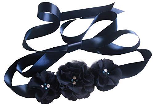 Bridesmaid and Flowergirls sashes wedding sash pearls flowers belts (Dark navy)