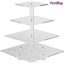 "YestBuy 4 Tier Maypole Square Wedding Party Tree Tower Acrylic Cupcake Display Stand(4 Tier Square with BASE(4"" between 2 layers) …"