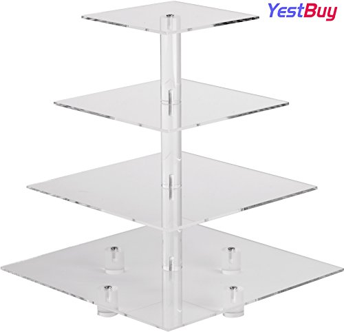 YestBuy 4 Tier Maypole Square Wedding Party Tree Tower Acrylic Cupcake Display Stand(4 Tier Square with BASE(4