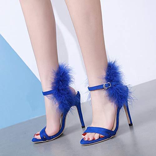 HBDLH Damenschuhe Frauen - Sandalen Sandalen Sandalen Sommer EIN Wort Der Offenen Zehen Fein Hacken Mode Blau 37 97f580