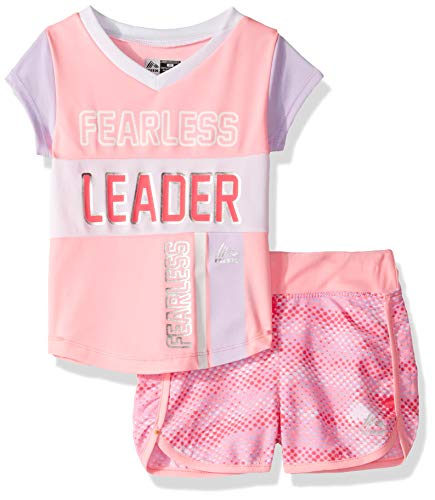 RBX Girls' Toddler Active Top and Short Set, Leader Pink, 2T